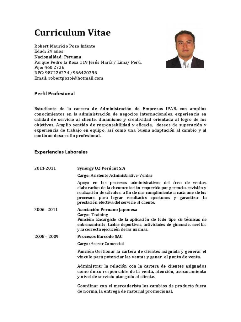 Fantástico Curriculum Vitae Para El Trabajo Asociado De Ventas ...
