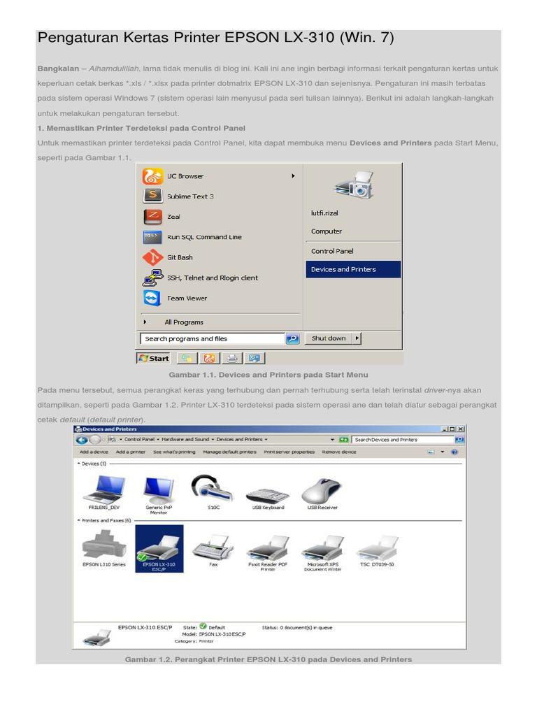 Pengaturan Kertas Printer Epson Lx 310