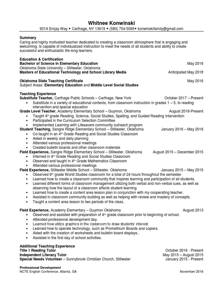 Resume Teachers Primary Education