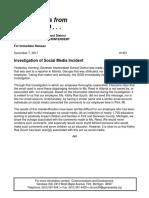 Investigation of Social Media Incident
