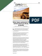 Bolivia_ Empieza Aprobación de 117 Contratos Mineros Para 30 Años de Duración - Dipromin