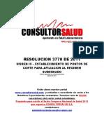 Res3778de2011 Puntos de Corte Sisben 3