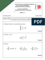 Examen Extraordinario Cálculo Integral FI UNAM