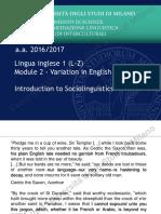 1. Introduction to Sociolinguistics