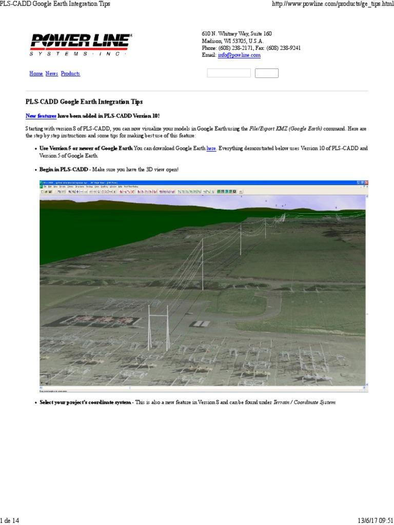 PLS CADD Google Earth | Tecnología | Computing