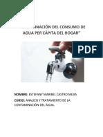 Determinación Del Consumo de Agua Per Cápita Del Hogar