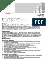 Comm Development Project Manager -  Job Posting