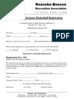 2018 in-House Basketball Registration Form
