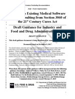 Changes to Medical SOftware POlicies Based on s 3060 of 21C Cures Act - FDA Draft Guidance 12 08 2017