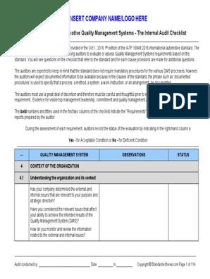 IATF 16949:2016 - Checklist Sample   Audit   Quality Management