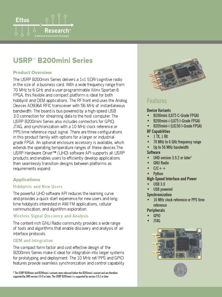 USRP B200mini Data Sheet | Software Defined Radio | Field