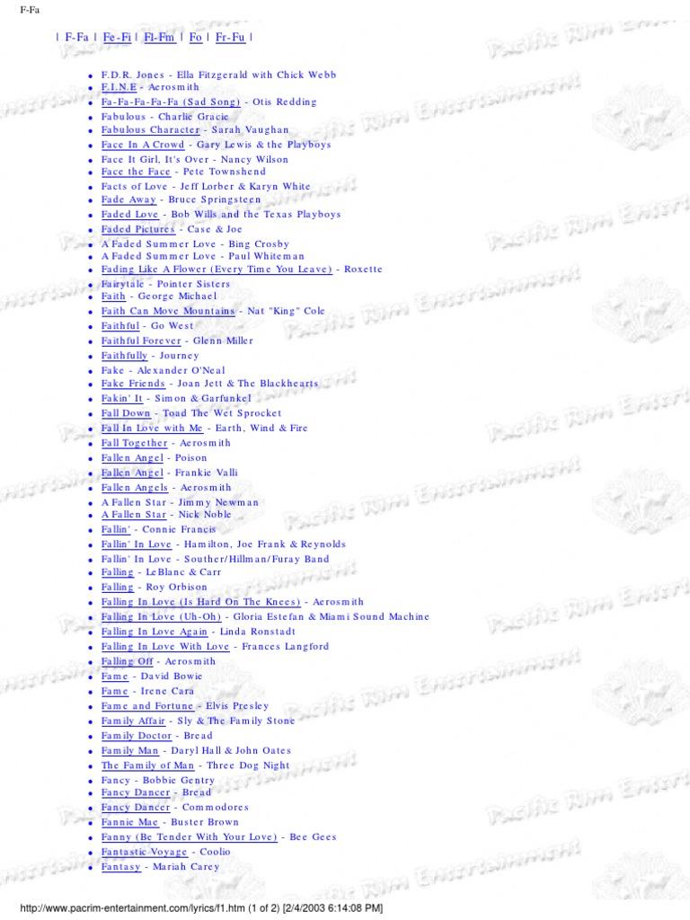 Lyrics f | Musicians | American Musicians
