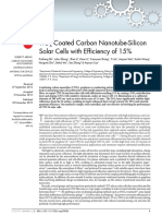 TiO2-Coated Carbon Nanotube-Silicon Solar Cells With Efficiency of 15%
