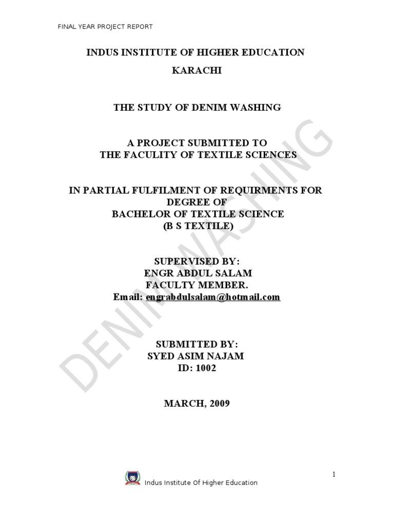 Denim washing thesis