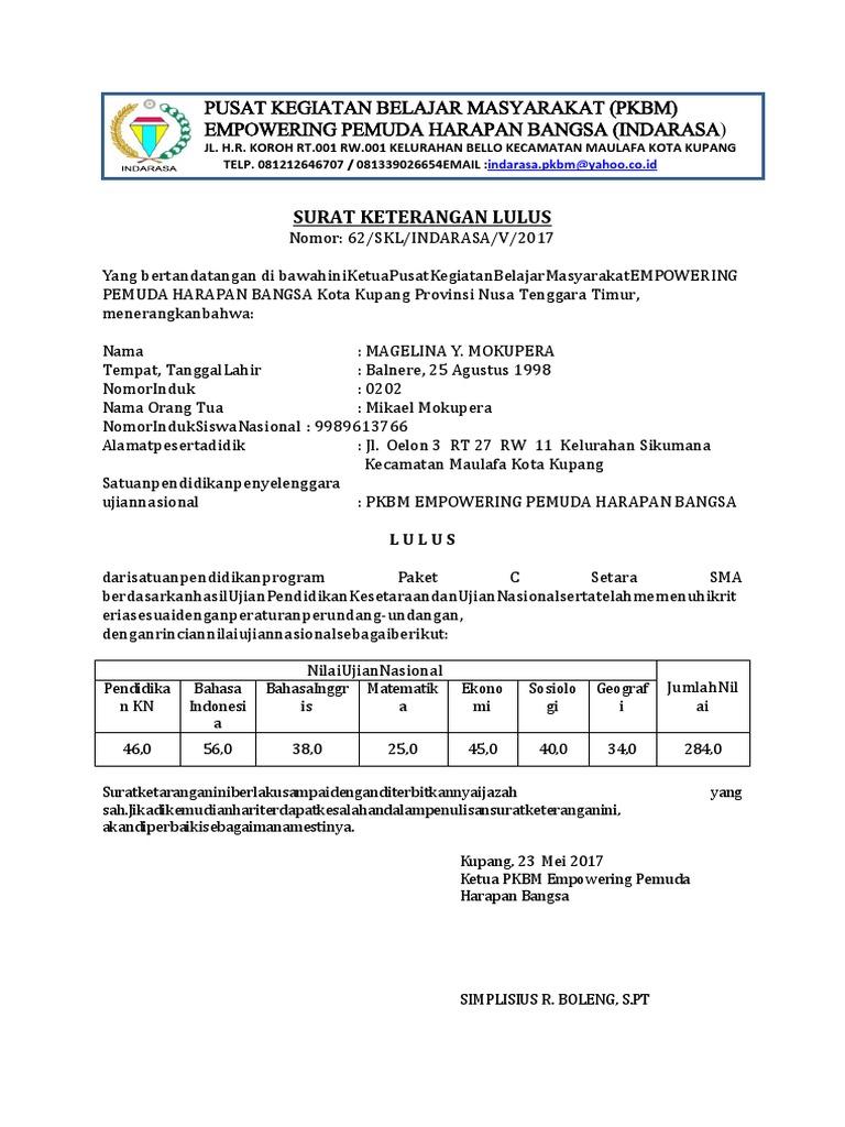Surat Keterangan Lulus Paket C 2017