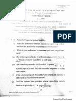 Automatic Control System End Semester Exam 2017 KIIT Bhubaneswar