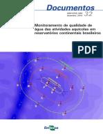 Monitoramento de qualidade de água das atividades aquícolas em reservatórios continentais brasileiros