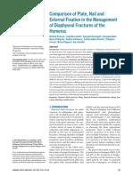 Comparacion Entre Placa Puente Fijador Externo y Clavo en Fx de Diafisis de Humero