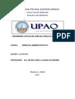 Regímenes Civiles Del Empleo Público en El Perú