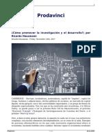 Como Promover La Investigacion y El Desarrollo Por Ricardo Hausmann
