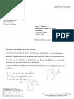 Lettre de démission de Michel Zumkeller
