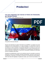 Las Tres Preguntas Que Marcan El Futuro de Venezuela Por Michael Penfold