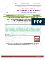 COMPARATIVE STUDY OF PERCENTAGE PURITY AND COST OF SOME GENERIC AND BRANDED MARKETED TABLETS OF DIFFERENT CLASSES