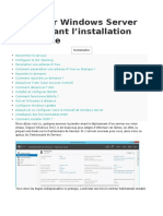 Preparation Windows Server Avant Instal Role