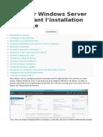 Preparation Windows Server Avant Instal Role