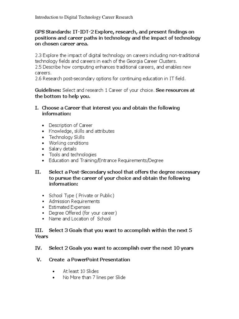 itd careers project worksheet