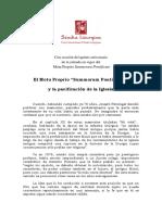 El Motu Proprio (Summorum Pontificum) y La Pacificacion de La Iglesia