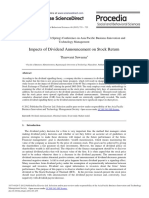 Impacts of Dividend Announcement on Stock Return - ScienceDirect.pdf