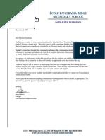 Panorama Ridge Secondary school's letter to parents