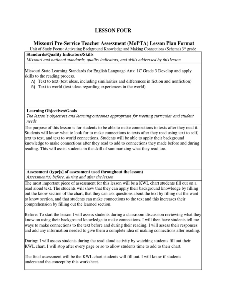 lesson four mopta format Educational Assessment