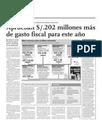 Aprueban 202 millones más de gasto fiscal para este año
