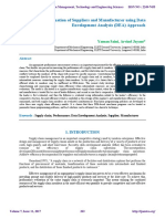 Performance Evaluation of Suppliers and Manufacturer using Data Envelopment Analysis (DEA) Approach