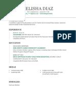felisha diaz resume 2017