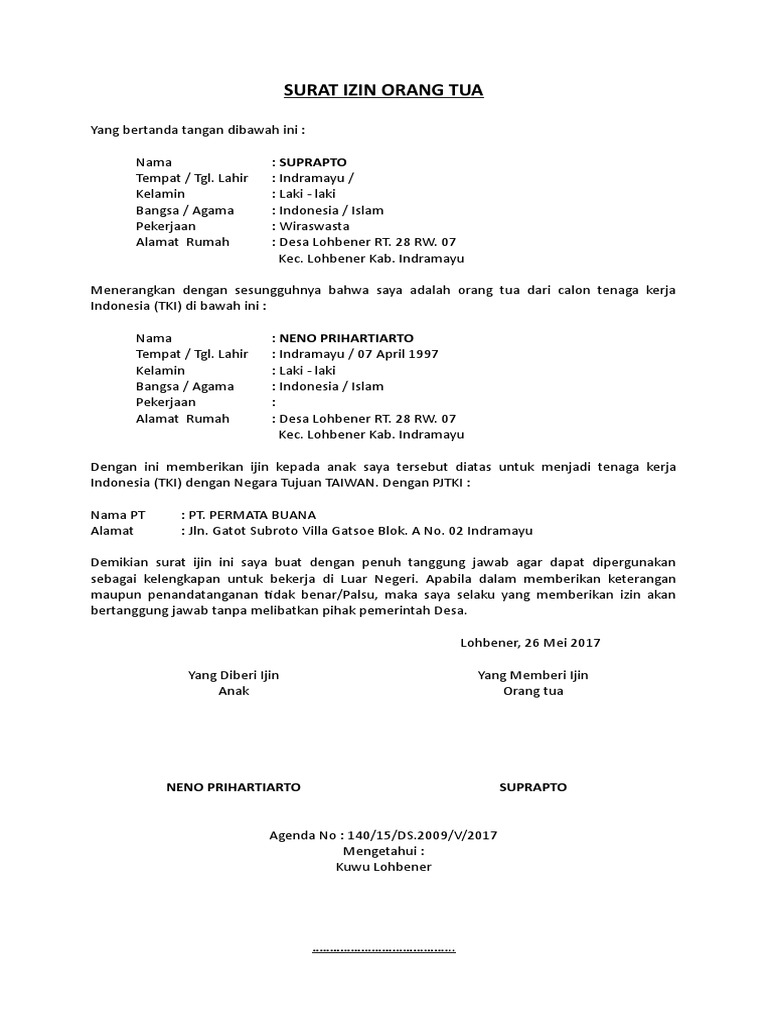 Surat Izin Orang Tua Untuk Bekerja Di Luar Negeri - Info ...