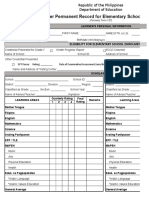 School Form 10 SF10 Learner's Permanent Academic Record for Elementary School
