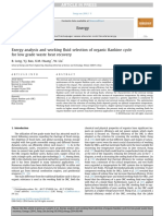 Exergy analysis and working fluid selection of organic Rankine cycle for low grade waste heat recovery.pdf
