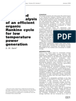 Energy and Exergy Analysis of an Efficient Organic Rankine Cycle for Low Temperature Power Generation