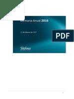 Memoria Integrada TEFONICA  - 2016 VERSI