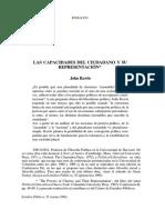 John Rawls - Las Capacidades Del Ciudadano y Su Representacion