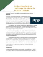 Reforzamiento Estructural en Vivienda Tradicional de Adobe de Chiapa de Corzo