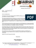 Carta a Lizardo Mora