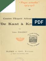 Daudet Léon - Contre l'Esprit Allemand de Kant à Krupp
