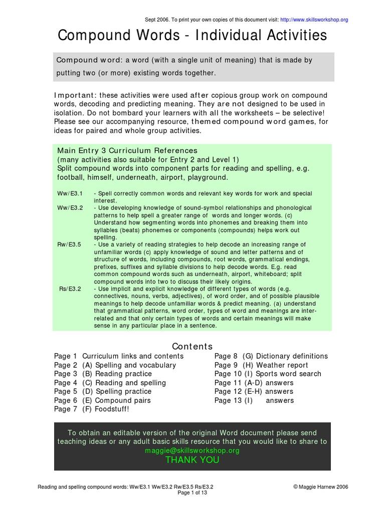 Compoundsheetspdf Word Reading Process