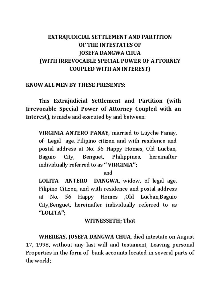 Extrajudicial settlement dangwa power of attorney intestacy falaconquin