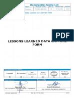 Fm-div01-Qaqc-0015 Lessons Learned Data Capture Form