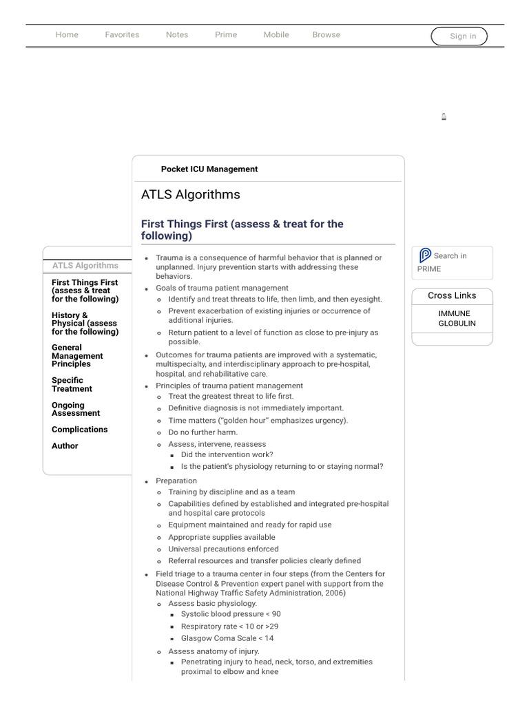 ATLS Algorithms _ Pocket ICU Management | Major Trauma